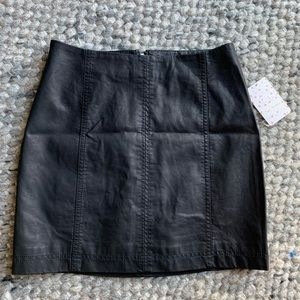 NWT Free People Leather Mini Skirt